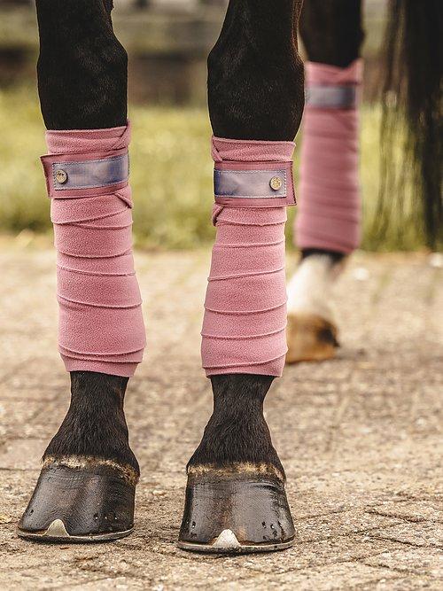 pink bandages dressage polo