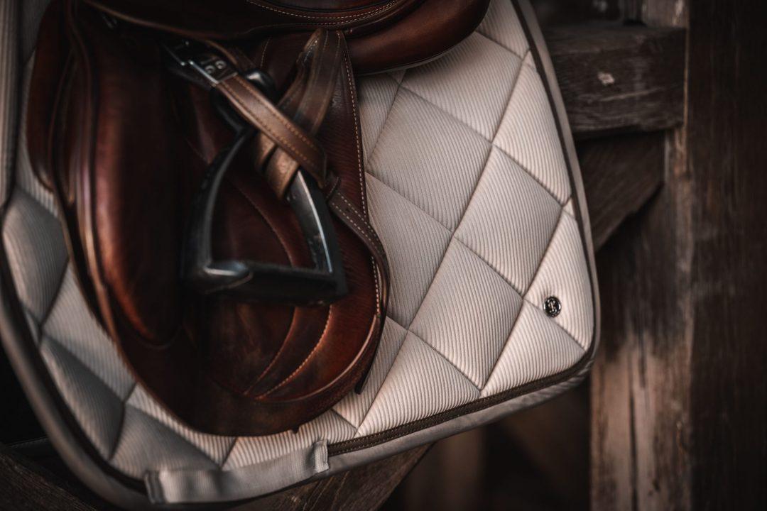 Latte corduroy saddle pad