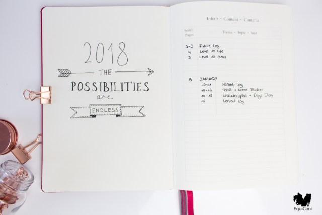 Bullet Journal Setup 2018 Index