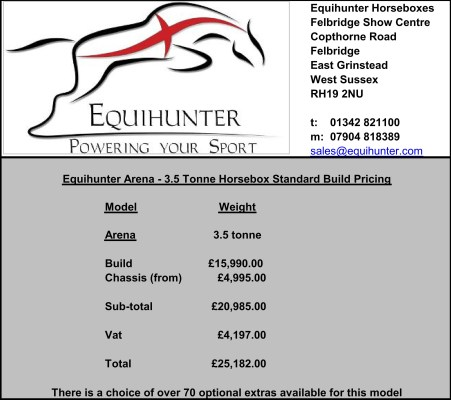 Equihunter Arena 3.5 Tonne Horsebox Pricing