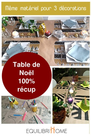 Deco 3 tables de noel recup