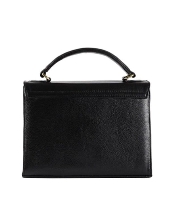 Milaluna Black Handle Bag with Chain Strap – Back
