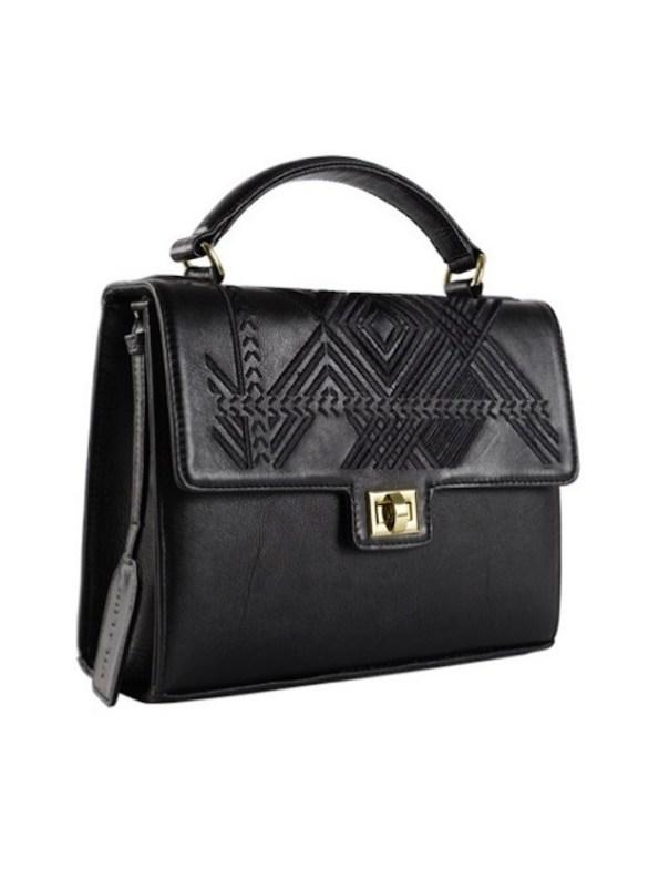 Milaluna Black Leather Black Geo Handle Bag Side
