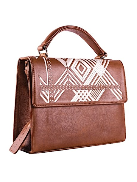 Milaluna Brown Leather White Geo Handle bag With Leather Strap Side