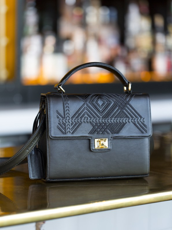 Milaluna black geo handle bag gold clasp_styled
