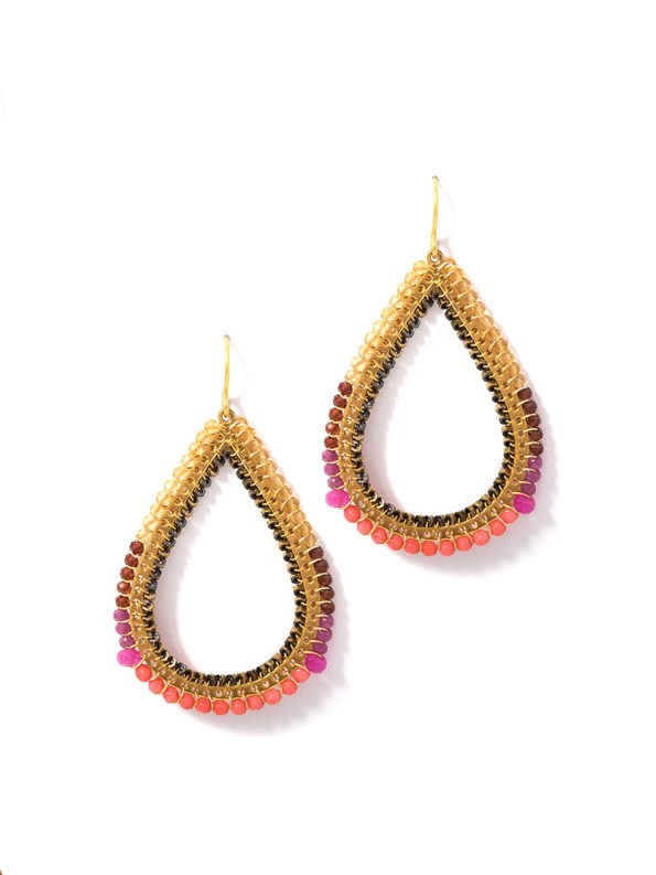 Kirsten Goss Bomber Earrings Coral Gold