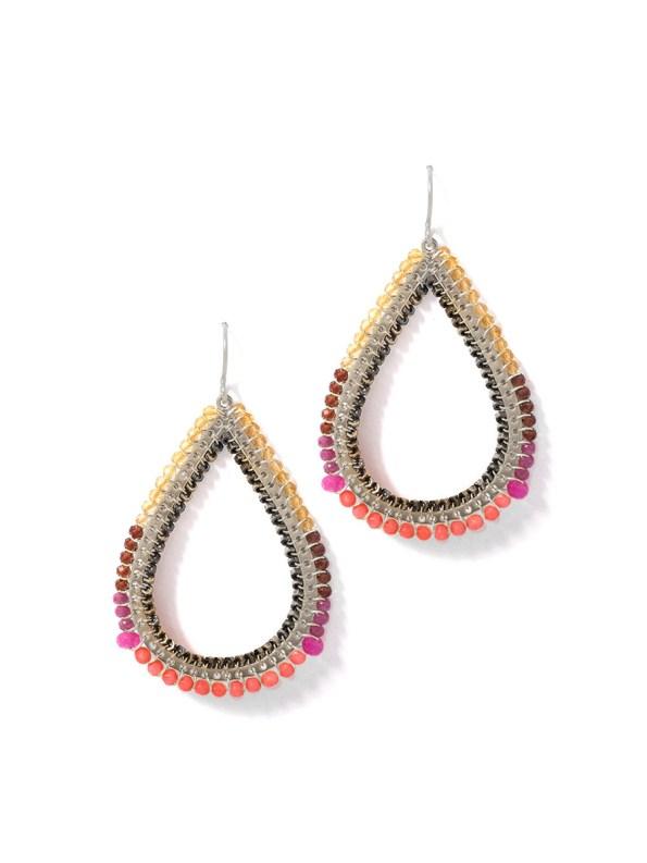Kirsten Goss Bomber Earrings Coral Silver