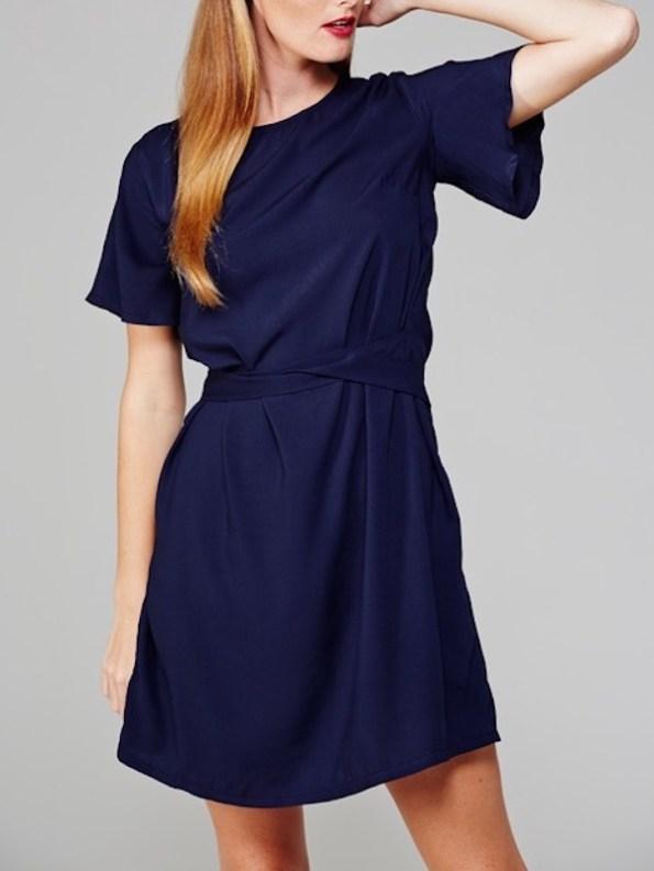 April Dress Navy Sleeve