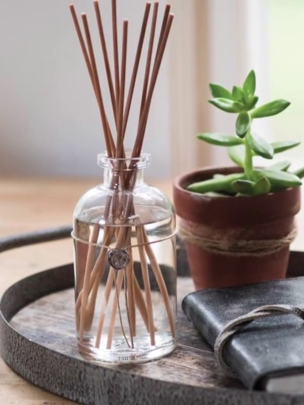 Votivo Aromatic Grey Vetiver Reed Diffuser on tray