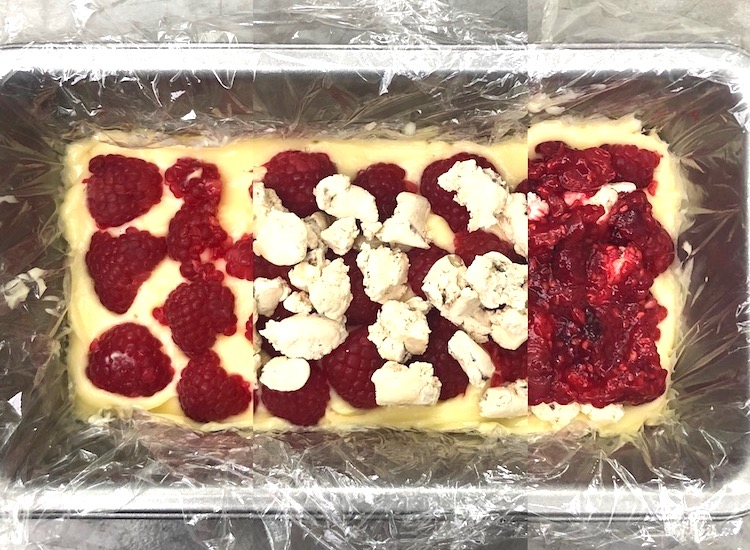 Frozen white chocolate and raspberry terrine