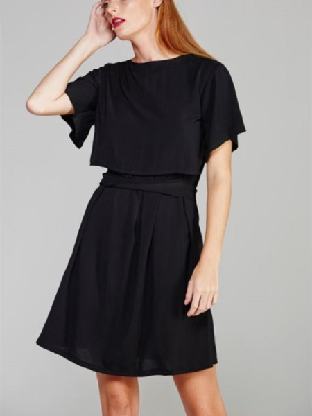 Mareth Colleen Napa Dress in black on model