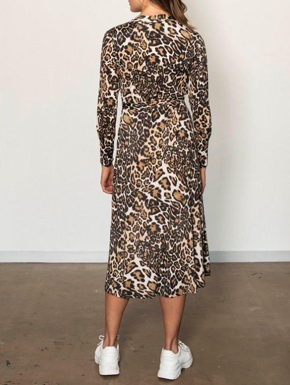 Smudj Leora Wrap Dress Leoprad Print Back