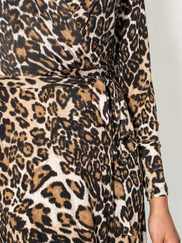 Smudj Leora Wrap Dress Leoprad Print Detail