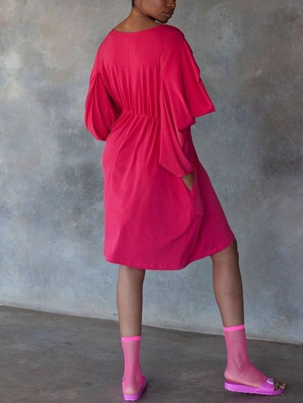 Erre Just Sleeve It Drawstring Dress Pink Back