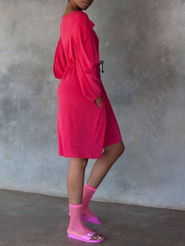 Erre Just Sleeve It Drawstring Dress Pink Side