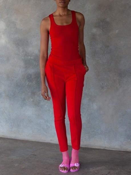 Erre Sprint Racer Back Vest and Sprint Skinny Pants Red Front