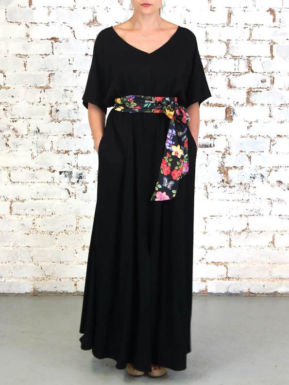 JMVB Bordeaux Dress Black Floral Front
