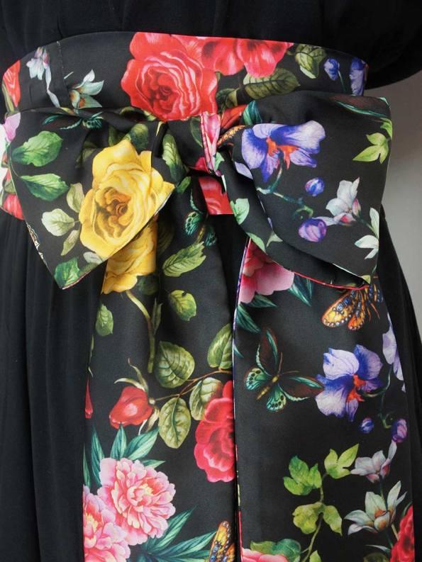 JMVB Bordeaux Dress Black Floral Sash