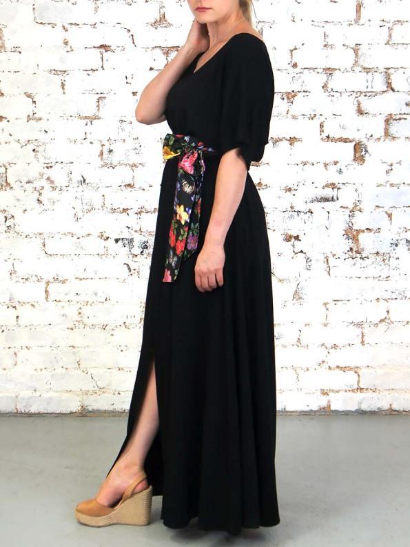 JMVB Bordeaux Dress Black Floral Slit