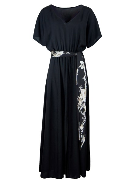 Black Maxi Dress with floral belt South Africa