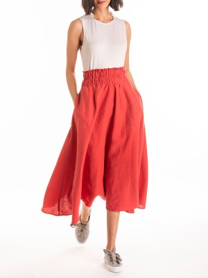 Red linen skirt