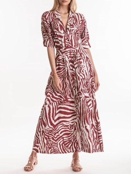 Smudj Lennie Dress Claret Zebra Front