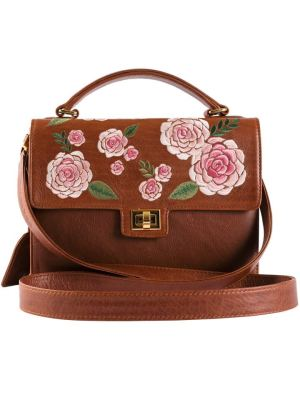 Brown leather bag with floral embroidery