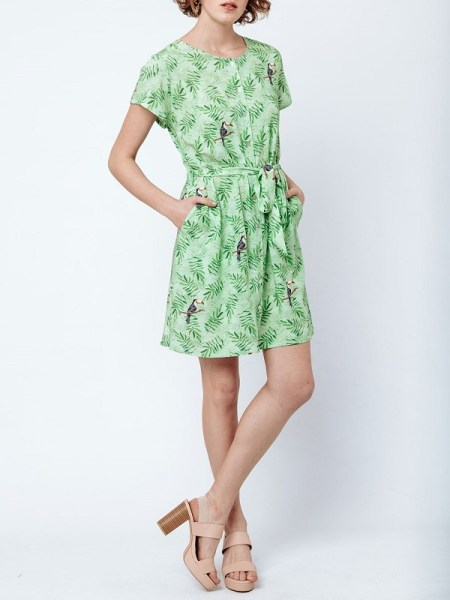 Good Clothing College Dress Green Toucans Front