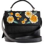 Milaluna Black Leather Gold Floral Handle Bag with Leather Strap