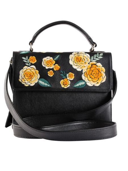 Milaluna Black Leather Gold Floral Handle Bag with Leather Strap