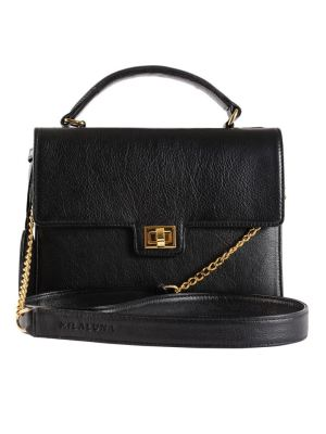 Milaluna Black Leather Handle Bag with Gold Clasp with Chain Strap