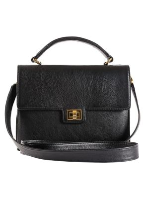 Milaluna Black Leather Handle Bag with Gold Clasp with Leather Strap