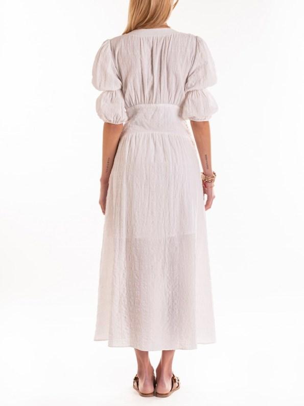 Smudj Wayfarer Dress White Seesucker Back