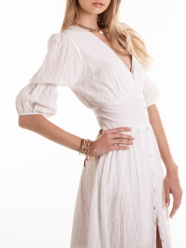 Smudj Wayfarer Dress White Seesucker Cropped