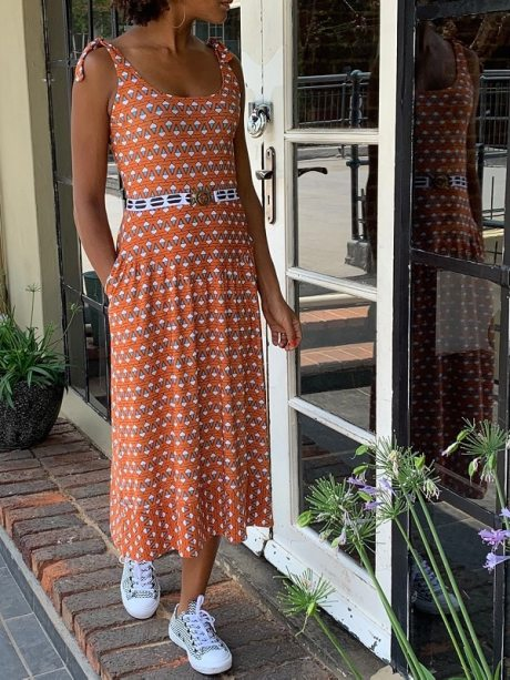Orange dress African print