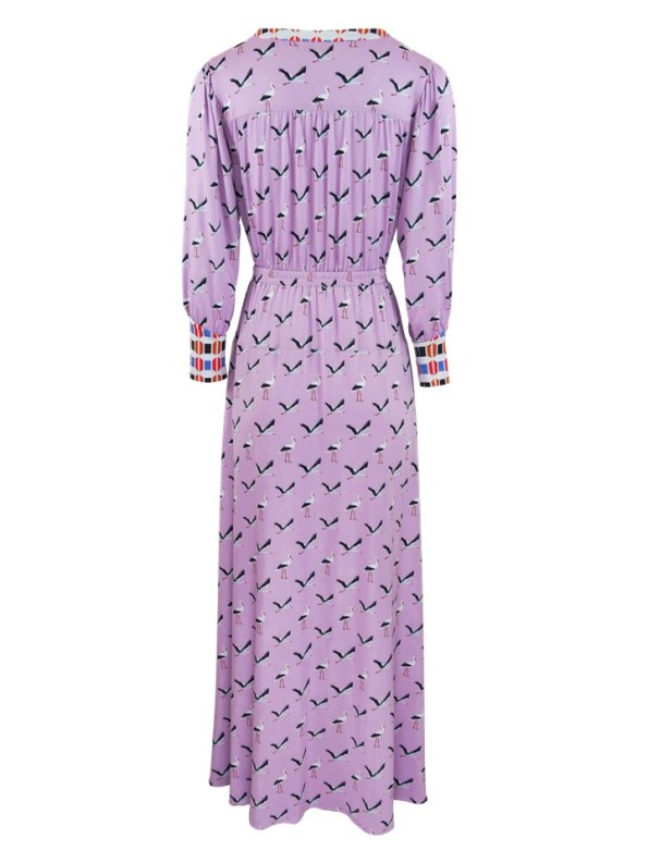 African Style Story Comporta Dress Pink Storks Back