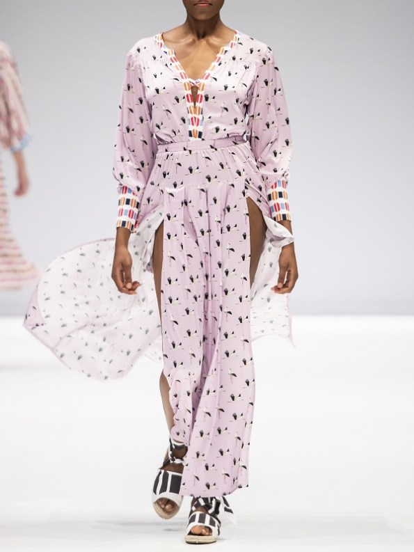 African Style Story Comporta Dress Pink Storks Front SAFW