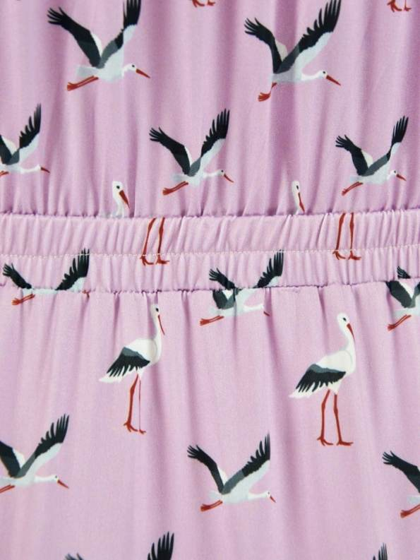 African Style Story Comporta Dress Pink Storks Waist