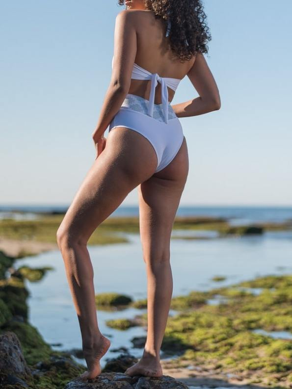 African Style Story Gisele Swimsuit White with Geometric Green Model Back 2