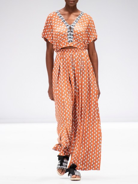 Orange two-piece dress with African Print