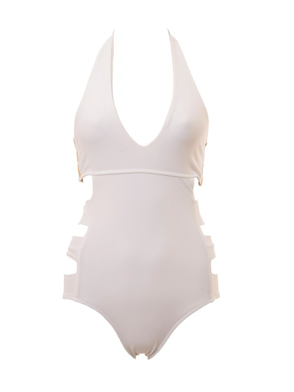 African Syle Story Dimi Swimsuit White with Gold Doors