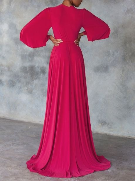 Pink evening dresses with sleeves