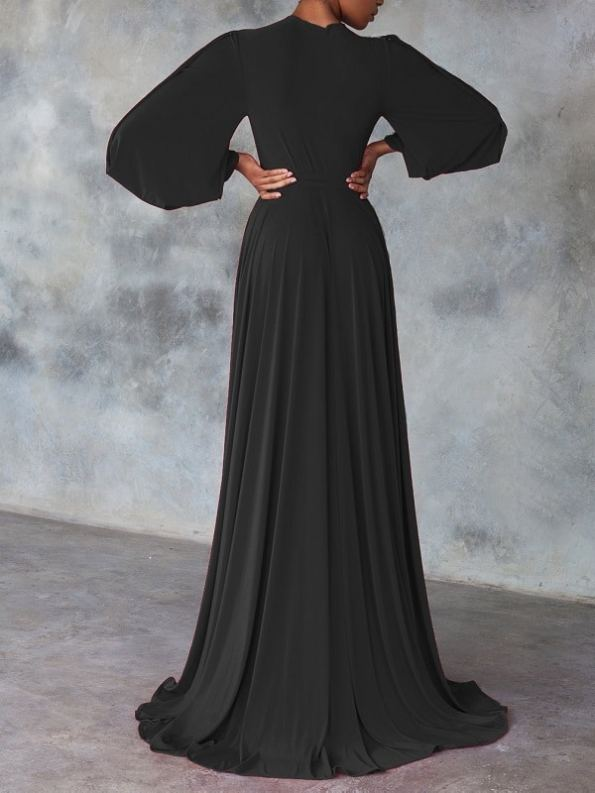 Erre Dancing Lady Maxi Wrap Dress Black Back with Train
