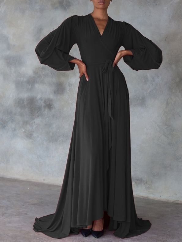 Erre Dancing Lady Maxi Wrap Dress Black Front with train