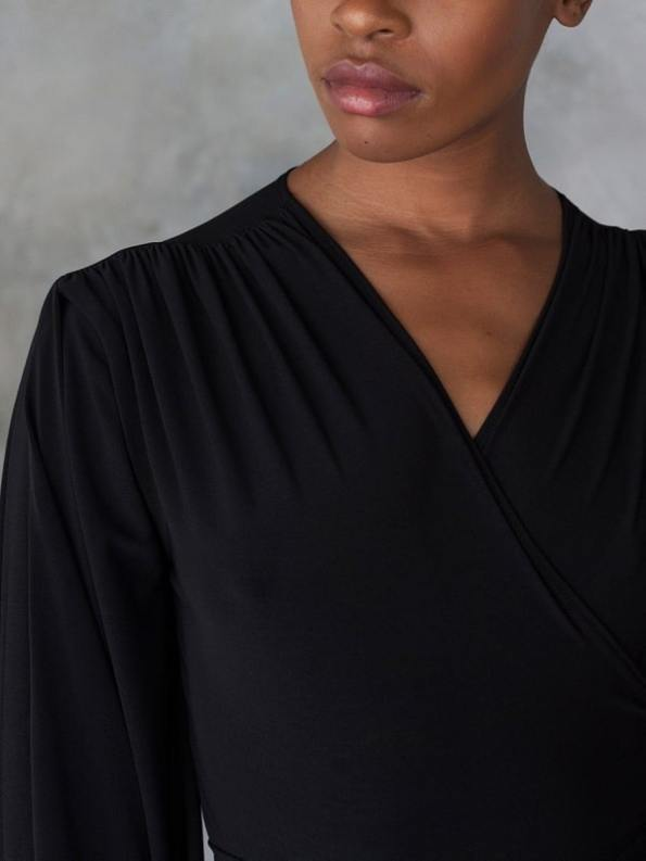 Erre Dancing Lady Maxi Wrap Dress Black Shoulder Detail