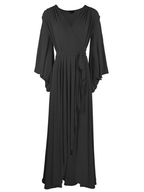 Erre Dancing Lady Maxi Wrap Dress Black