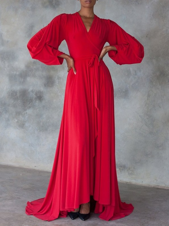 Erre Dancing Lady Maxi Wrap Dress Red Front 2