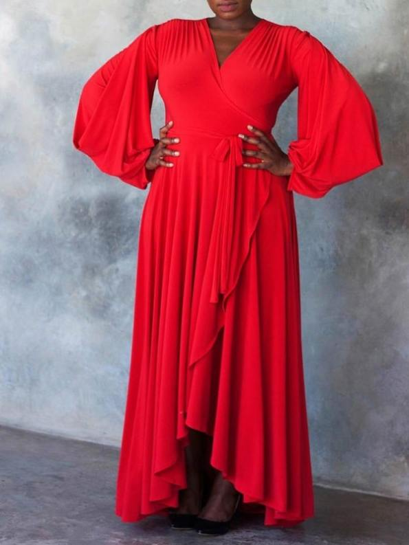 Erre Dancing Lady Maxi Wrap Dress Red Front