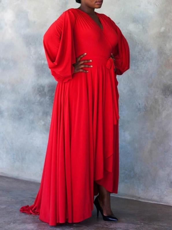 Erre Dancing Lady Maxi Wrap Dress Red Side