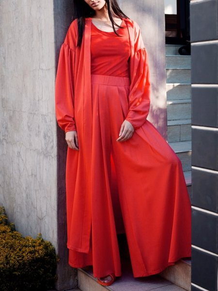 Fire red wide leg pants with matching lightweight coat jacket